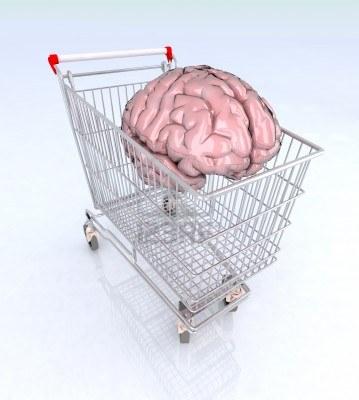 nákupný košík s mozgom